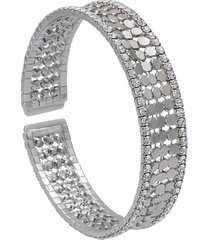 bracciale bangle con strass in metallo rodiato color argento per donna