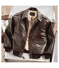 men's leather a-2 flight jacket, 'road to victory' (china)