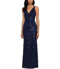 xscape sequin-fringe gown