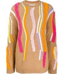 peter pilotto textured-stripe knitted sweater - neutrals
