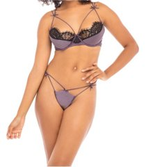 women's satin and lace bra and panty set with decorative spaghetti strap detail and removable garter straps