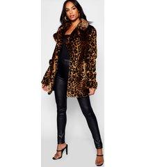 tall faux fur luipaardprint jas, luipaard