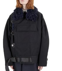 women's black cees detachable shearling collar oversized cotton canvas parka