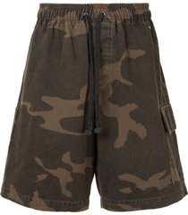 john elliott utility cargo shorts - brown