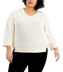 kiss & tell trendy plus size exposed-seam top