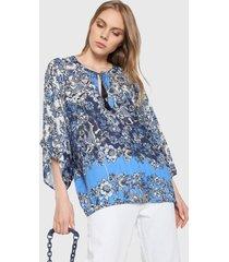 blusa azul-blanco desigual