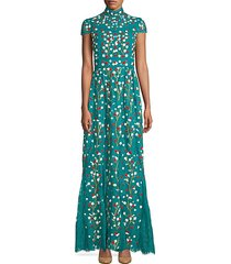 arwen floral-embroidered cap sleeve a-line gown