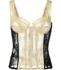 beige and black lace corset top