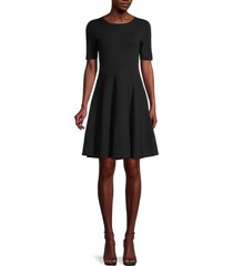 saks fifth avenue women's cotton-blend fit-&-flare dress - black - size xs