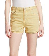 frayed-cuff denim shorts