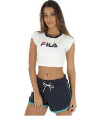 blusa cropped fila pia - feminina - branco/azul esc
