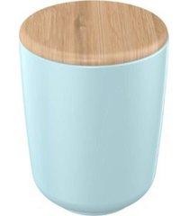 porta algodã£o cerã¢mica azul com tampa bambu 10 cm – yoi - incolor - dafiti