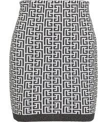 balmain knitted skirt with monogram
