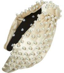 lele sadoughi imitation pearl embellished velvet headband, size one size - ivory