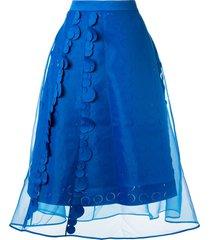 paskal sheer panelled flared skirt - blue