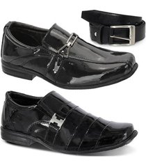 kit 2 pares sapato social infantil em couro e 1 cinto leoppé - masculino