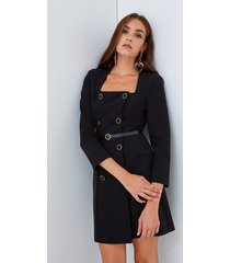 motivi vestito con bottoni e cintura donna nero