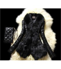 new slim women winter faux fox fur&amp sheep skin coat jacket vest parka overcoa