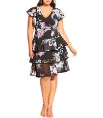 plus size women's city chic summer blooms tiered ruffle dress