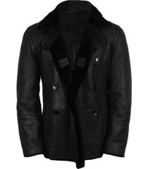 handmade men black leather jacket with fleece, mens sherling leather jackets