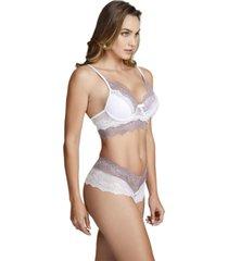 conjunto de lingerie em renda com suti㣠com bojo ms fashion branco e lilã¡s - branco - feminino - renda - dafiti