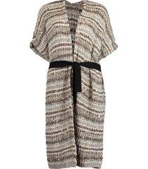 paillette belted long cardigan