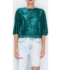 endless rose sequin top w/ chiffon lin