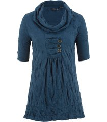 tunica a mezze maniche in tessuto stropicciato (blu) - bpc bonprix collection