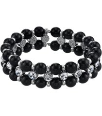 2028 silver-tone black crystal stretch bracelet