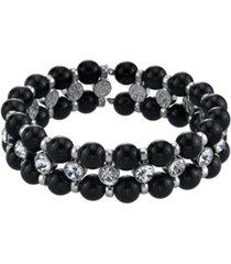 2028 silver-tone black crystal stretch bracelet