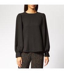 ganni women's clark blouse - black - eu 42/uk 14 - black