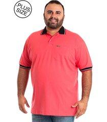 camisa polo konciny plus size salmão