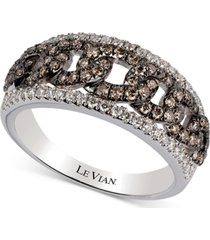 le vian chocolatier vanilla diamond (1/4 ct. t.w.) & chocolate diamond (1/2 ct. t.w.) statement ring in 14k white gold