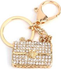 portachiavi in cristallo dorato a forma di borsa