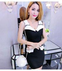 pf097 navy collar a-line dress, sleeveless, free size, black