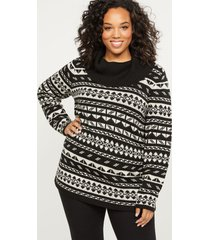 lane bryant women's fair isle cowlneck sweater 26/28 black and cream fair isle
