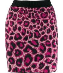 alberta ferretti leopard print knit skirt - black