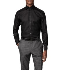eton contemporary fit diagonal weave dress shirt, size 16 in black at nordstrom