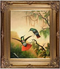 "la pastiche by overstockart two hooded visorbearer hummingbirds with renaissance frame, 30"" x 34"""