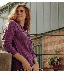 ażurowy sweter z kapturem