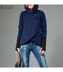 zanzea ocasional de las mujeres escudo sudaderas con capucha de la cremallera asimétrica hem suda la camiseta plus -azul marino