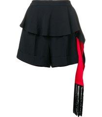 alexander mcqueen hanging tassel shorts - black