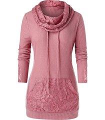 plus size lace panel cowl neck drawstring pocket sweater