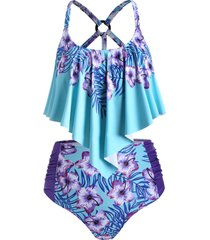 plus size floral print overlay tankini swimsuit