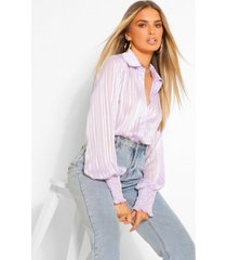 stripe shirred cuff shirt, lilac