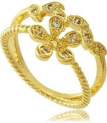 anel de falange dois fios flor com zircônia 3rs semijoias dourado