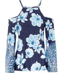 maglia a maniche lunghe in fantasia floreale (blu) - bodyflirt boutique