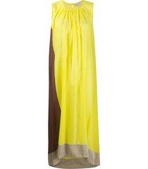 alysi panelled colour block crinkled dress - yellow
