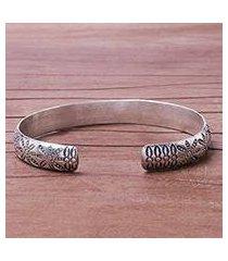silver cuff bracelet, 'seaside trail' (thailand)