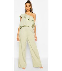 one shoulder occasion jumpsuit, sage